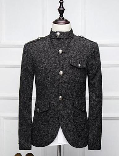Herren Solide Einfach Lässig/Alltäglich Arbeit Blazer,Ständer Herbst Lange Ärmel Standard Polyester