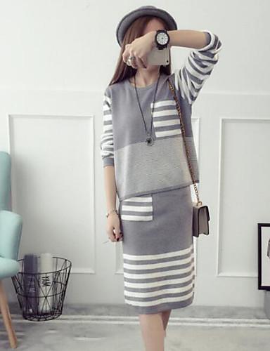 Damen Solide Einfach Lässig/Alltäglich Bluse Rock Anzüge,Rundhalsausschnitt Herbst Lange Ärmel