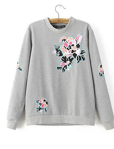 Damen Pullover Ausgehen Buchstabe Rundhalsausschnitt Mikro-elastisch Andere Lange Ärmel Frühling Herbst