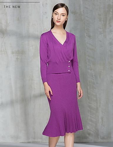 Damen Hülle Kleid-Ausgehen Niedlich Solide V-Ausschnitt Midi Langarm Polyester Herbst Mittlere Hüfthöhe Mikro-elastisch Mittel