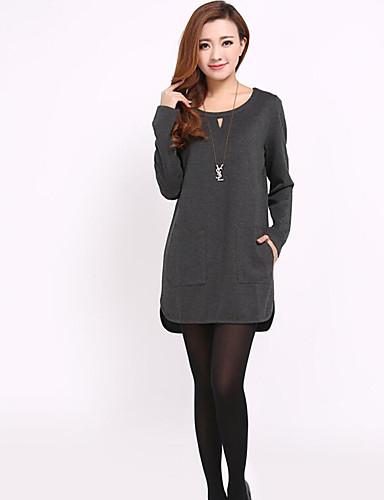 Damen Lose Kleid-Ausgehen Solide Rundhalsausschnitt Übers Knie Langarm Baumwolle Herbst Mittlere Hüfthöhe Mikro-elastisch Mittel