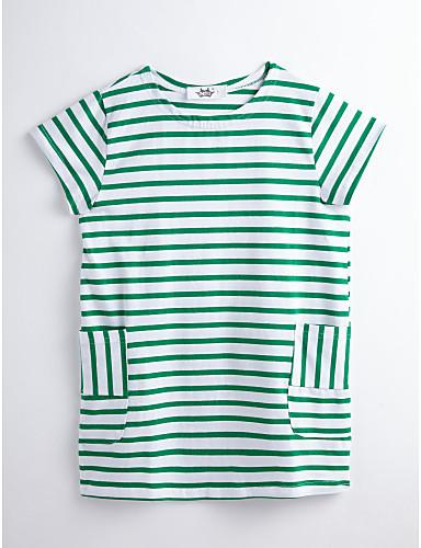 Mädchen Kleid Gestreift Baumwolle Sommer Kurzarm Streifen Grün