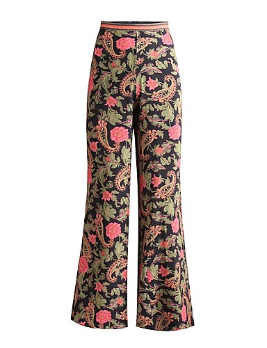 Damen Sexy Street Schick Hohe Hüfthöhe Mikro-elastisch Bootcut Breites Bein Hose,Kunstseide Frühling Sommer Blumen Druck