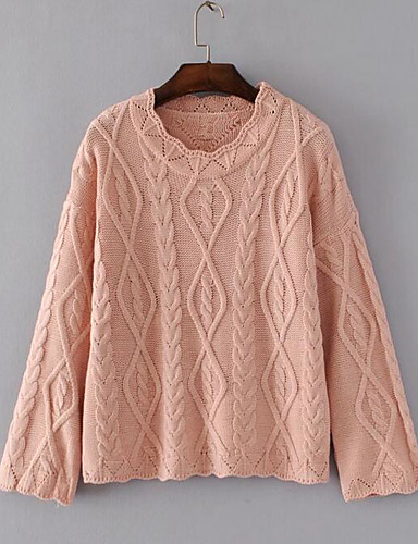 Damen Standard Pullover-Lässig/Alltäglich Solide Rundhalsausschnitt Langarm Andere Frühling Herbst Mittel Mikro-elastisch