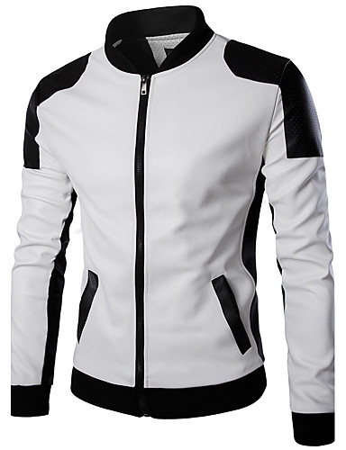 Men's Slim Leather Jacket - Color Block Stand / Long Sleeve