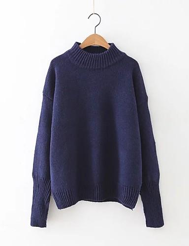 Damen Standard Pullover-Ausgehen Lässig/Alltäglich Einfach Niedlich Solide Einfarbig Ständer Langarm Wolle Baumwolle Polyester Frühling