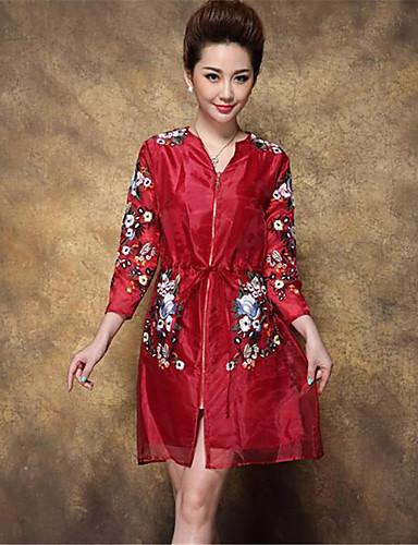Vintage V-alakú Női Hosszú Kabát - Egyszínű, Nyomtatott