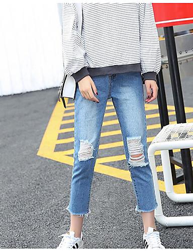 Damen Einfach Hohe Hüfthöhe Mikro-elastisch Jeans Chinos Schlank Hose Solide