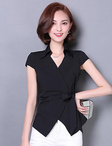 Damen Solide - Einfach Baumwolle Hemd, V-Ausschnitt