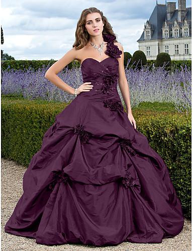 billige Quinceanera Kjoler-Ballkjole Enskuldret Hoffslep Taft Kjole med Appliqué / Samle Opp Kjole av TS Couture®