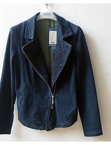 Damen Solide Einfach Lässig/Alltäglich Blazer,Schal Revers Frühling Lange Ärmel Standard Baumwolle