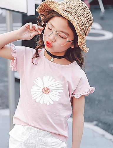 Mädchen T-Shirt einfarbig Druck Baumwolle Polyester Sommer Kurzarm Normal
