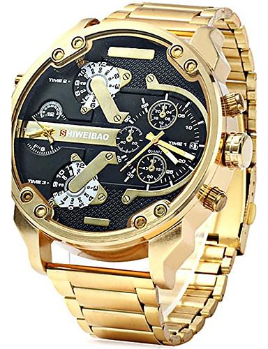 Недорогие Детские часы-Муж. Армейские часы золотые часы Авиационные часы Нержавеющая сталь Черный / Золотистый Календарь Творчество С двумя часовыми поясами Аналоговый Кулоны Роскошь На каждый день Мода - / Один год