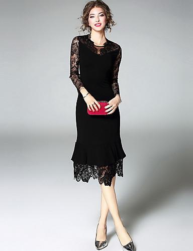 Damen Hülle Kleid-Ausgehen Niedlich Stickerei Rundhalsausschnitt Midi Langarm Polyester Herbst Mittlere Hüfthöhe Mikro-elastisch Mittel