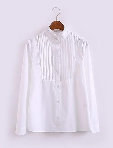 Damen Solide Einfach Sexy Street Schick Ausgehen Lässig/Alltäglich T-shirt,Hemdkragen Sommer Langarm Baumwolle Polyester Dünn