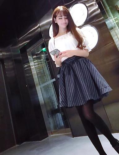 Damen A-Linie Kleid-Ausgehen Solide Bateau Übers Knie Halbe Ärmel Baumwolle Sommer Hohe Hüfthöhe Mikro-elastisch Dünn