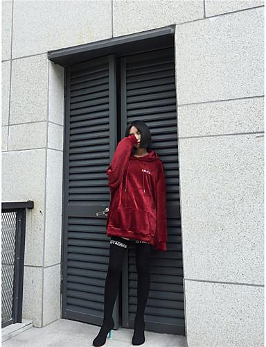 Damen Übergrössen Kapuzenshirt Solide Baumwolle
