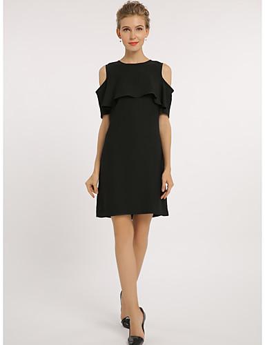 Damen Hülle Kleid-Lässig/Alltäglich Arbeit Übergröße Einfach Solide Rundhalsausschnitt Übers Knie Kurzarm Polyester Alle SaisonsMittlere
