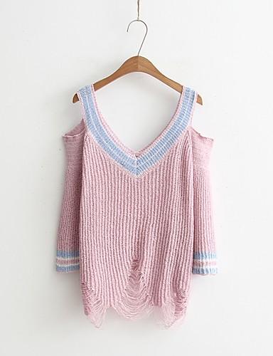 Damen Standard Pullover-Ausgehen Lässig/Alltäglich Einfach Niedlich Solide Einfarbig V-Ausschnitt Langarm Baumwolle Andere Frühling Herbst