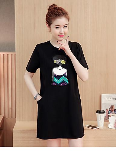 Damen T Shirt Kleid-Lässig/Alltäglich Einfach Solide Buchstabe Rundhalsausschnitt Übers Knie Kurzarm Baumwolle Sommer Mittlere Hüfthöhe