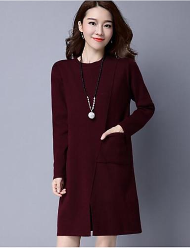 Damen Lang Pullover-Lässig/Alltäglich Solide Rundhalsausschnitt Halbe Ärmel Wolle Andere Herbst Winter Mittel Mikro-elastisch