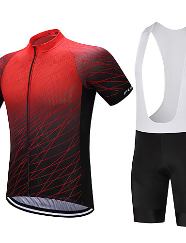 cheap Cycling Clothing-FUALRNY® Men's Short Sleeve Cycling Jersey with Bib Shorts - Black / Red Gradient Bike Clothing Suit Quick Dry Sweat-wicking Sports Polyester Coolmax® Silicon Gradient Mountain Bike MTB Road Bike