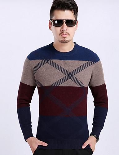 Herren Standard Pullover-Lässig/Alltäglich Solide Einfarbig Rundhalsausschnitt Langarm Polyester Frühling Dünn Mikro-elastisch