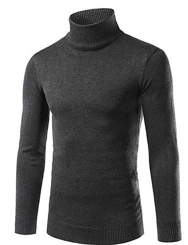 Men's Daily / Going out / Weekend Street chic Solid Colored Long Sleeve Slim Regular Pullover, Turtleneck Fall / Winter Dark Gray / Navy Blue / Light gray XL / XXL / XXXL