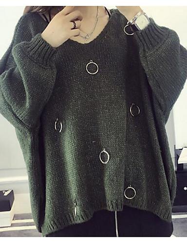 Damen Standard Pullover-Lässig/Alltäglich Geometrisch V-Ausschnitt Langarm Baumwolle Leinen Herbst Mittel Mikro-elastisch