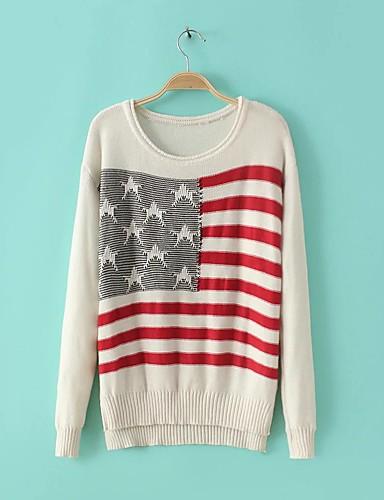 Damen Standard Pullover-Ausgehen Lässig/Alltäglich Einfach Niedlich Solide Gestreift Einfarbig Rundhalsausschnitt Langarm Baumwolle