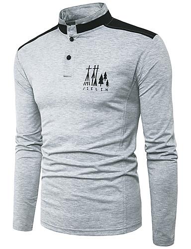 Herren Solide Einfach Ausgehen Lässig/Alltäglich T-shirt,Ständer Herbst Winter Langarm Baumwolle Polyester