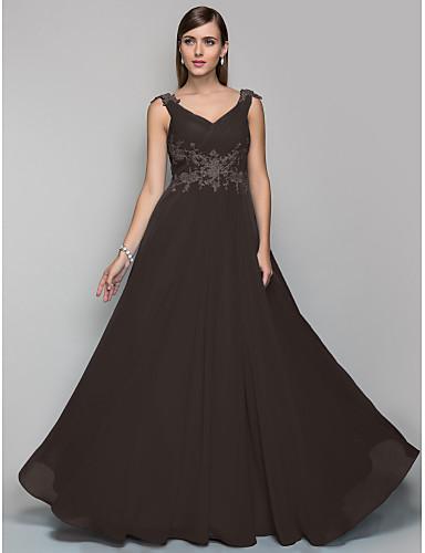 preiswerte Abendkleider-A-Linie V-Ausschnitt Boden-Länge Chiffon Abiball / Formeller Abend Kleid mit Applikationen / Gerafft durch TS Couture®