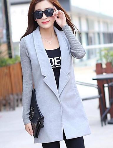 Damen Solide Einfach Freizeit Alltag Standard Mantel, Schal Revers Herbst Polyester
