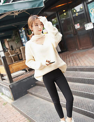 Damen Kurz Pullover-Lässig/Alltäglich Einfach Solide V-Ausschnitt Langarm Polyester Frühling Herbst Dünn Mikro-elastisch