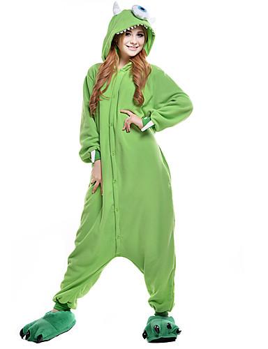 Adults  Kigurumi Pajamas One-Eyed Monster Animal Onesie Pajamas Polar  Fleece Green Cosplay For Men and Women Animal Sleepwear Cartoon Festival    Holiday ... cc9eeb4f5