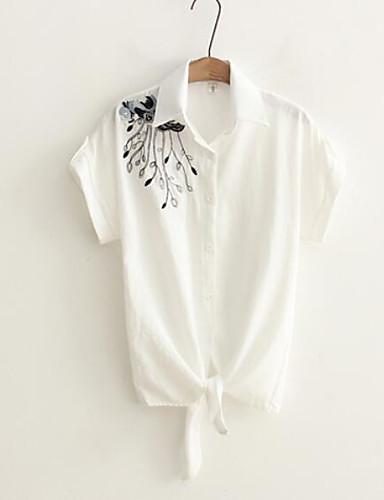Damen Solide Stickerei - Freizeit Baumwolle Hemd, Quadratischer Ausschnitt