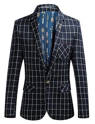 Herren Solide Verziert Einfach Lässig/Alltäglich Arbeit Blazer,Hemdkragen Herbst Lange Ärmel Standard Baumwolle