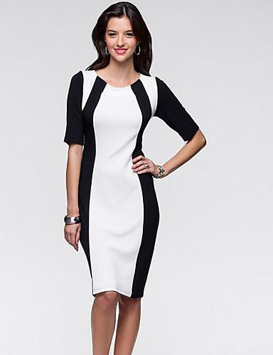 Damen Bodycon Kleid-Lässig/Alltäglich Gestreift Rundhalsausschnitt Knielang Kurzarm Baumwolle Sommer Mittlere Hüfthöhe Mikro-elastisch