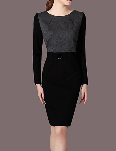 Damen Lose Kleid-Lässig/Alltäglich Einfach Solide Rundhalsausschnitt Midi Langarm Polyester Sommer Mittlere Hüfthöhe Mikro-elastisch Dünn