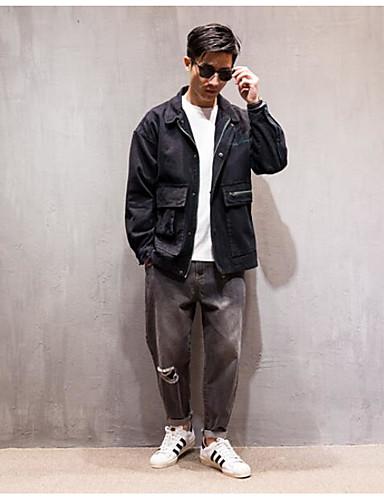 Herren Solide Einfarbig Einfach Lässig/Alltäglich Jacke,Hemdkragen Frühling Lange Ärmel Standard Baumwolle