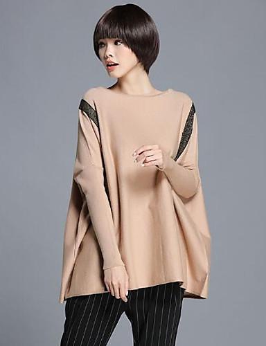 Damen Lang Pullover-Lässig/Alltäglich Solide Rundhalsausschnitt Langarm Wolle Andere Herbst Mittel Mikro-elastisch