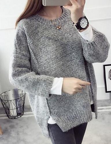 Damen Lang Pullover-Lässig/Alltäglich Solide Rundhalsausschnitt Langarm Baumwolle Leinen Herbst Mittel Mikro-elastisch
