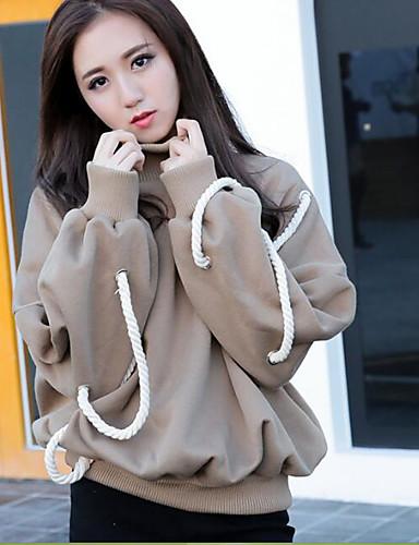 Damen Pullover Lässig/Alltäglich Einfach Solide Rollkragen Mikro-elastisch Baumwolle Langärmelige Frühling Herbst