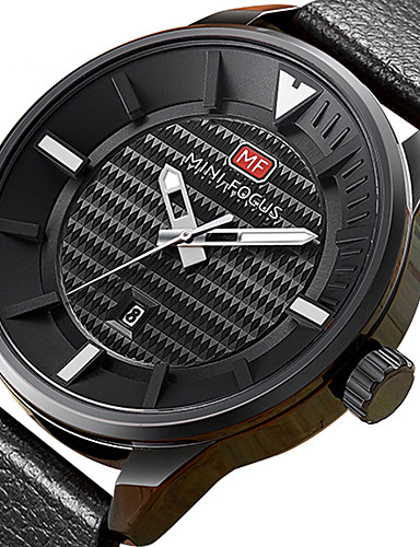 Men's Sport Watch / Wrist Watch Calendar / date / day / Creative / Cool Genuine Leather Band Charm / Luxury / Casual Black / Brown