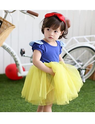 Mädchen Kleid einfarbig Polyester Sommer Kurzarm