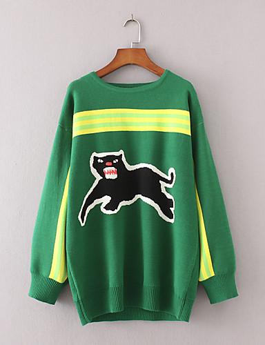 Damen Standard Pullover-Ausgehen Lässig/Alltäglich Einfach Street Schick Gestreift Druck Einfarbig Rundhalsausschnitt Langarm Wolle
