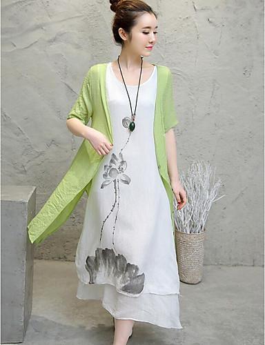 Damen Blumen Einfach Lässig/Alltäglich T-shirt Rock Anzüge,Rundhalsausschnitt Frühling Sommer Halbe Ärmel Baumwolle Mikro-elastisch