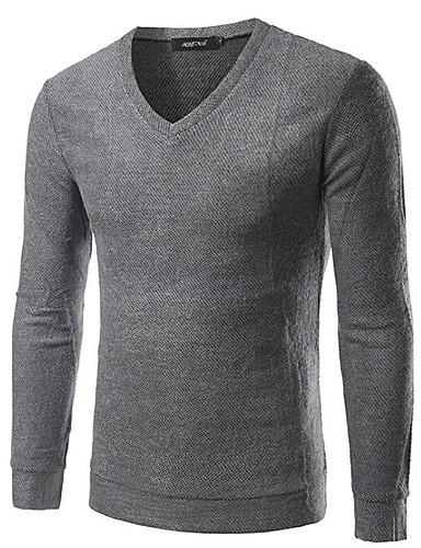 Herren Standard Pullover-Ausgehen Lässig/Alltäglich Street Schick Solide V-Ausschnitt Langarm Baumwolle Polyester Herbst Winter Mittel