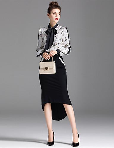 Damen Blumen Einfach Lässig/Alltäglich Shirt Rock Anzüge,Hemdkragen Herbst Lange Ärmel Mikro-elastisch
