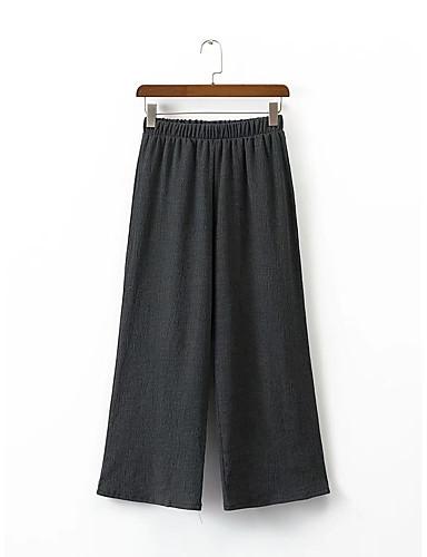Damen Einfach Mittlere Hüfthöhe Mikro-elastisch Lose Breites Bein Chinos Hose,Andere Sommer Herbst Solide